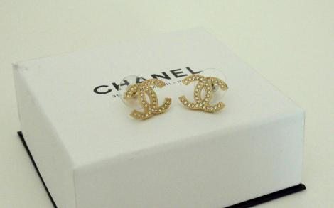 Chanel Earrings - Gold with sparkling rhinestones