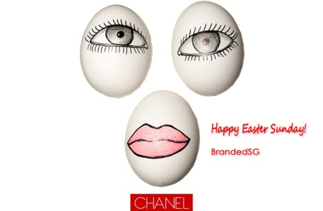 "Creative director for Chanel Makeup Peter Philips used a trio of eggs as canvas for a beautifully made-up set of peepers and lips. His advice for creating your own? ""Find the child in you, have fun,  and be careful—eggs are fragile!""   Photo: Liam Goodman"