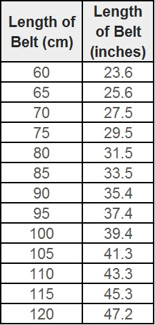 Hermes Belt Sizing Chart