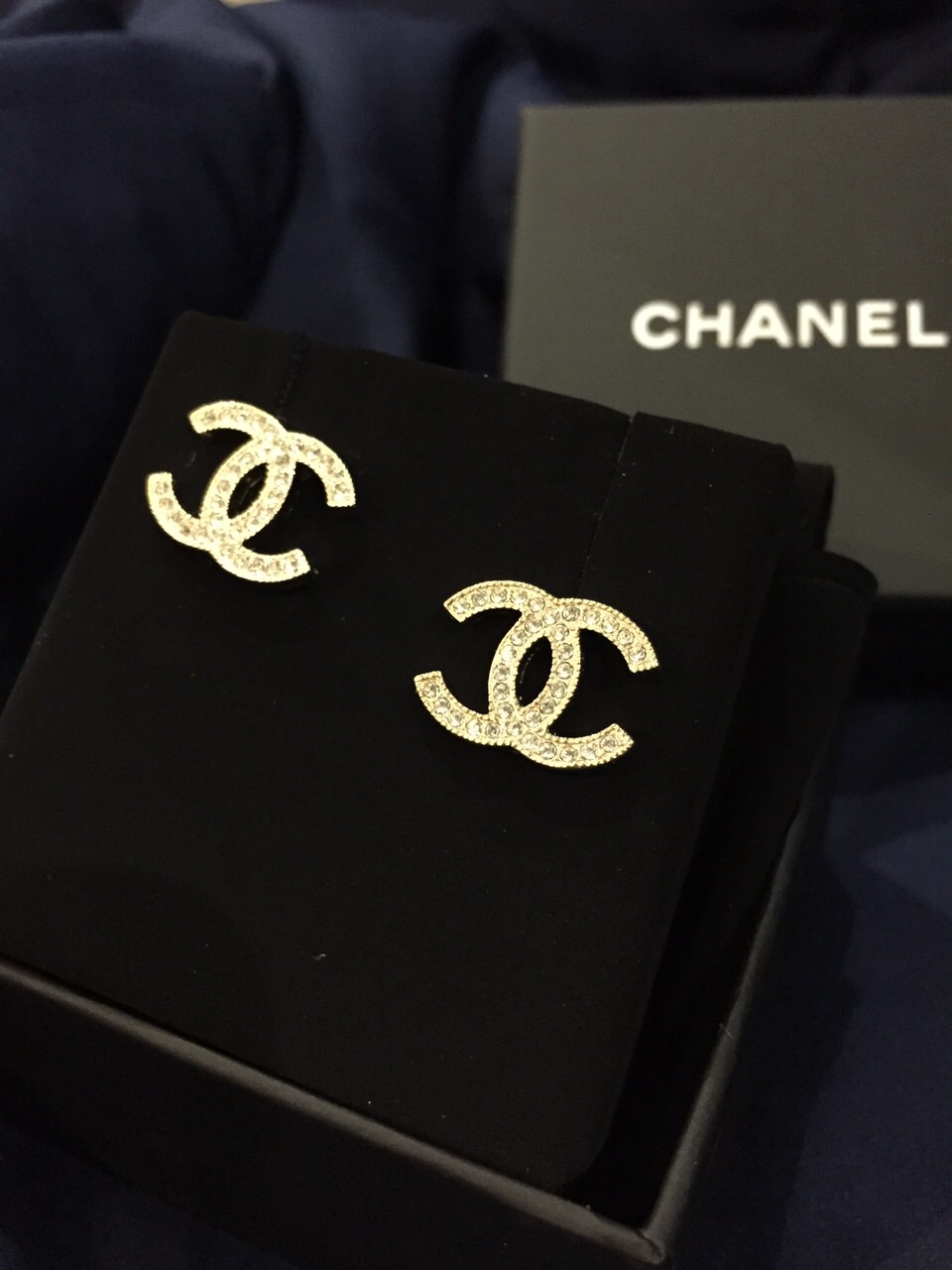 deabeecd SOLD] FOR SALE: BNIB DOUBLE C CHANEL EARRINGS WITH RHINESTONES ...